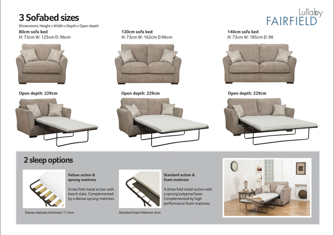 Buoyant Fairfield 80cm Standard Sofabed