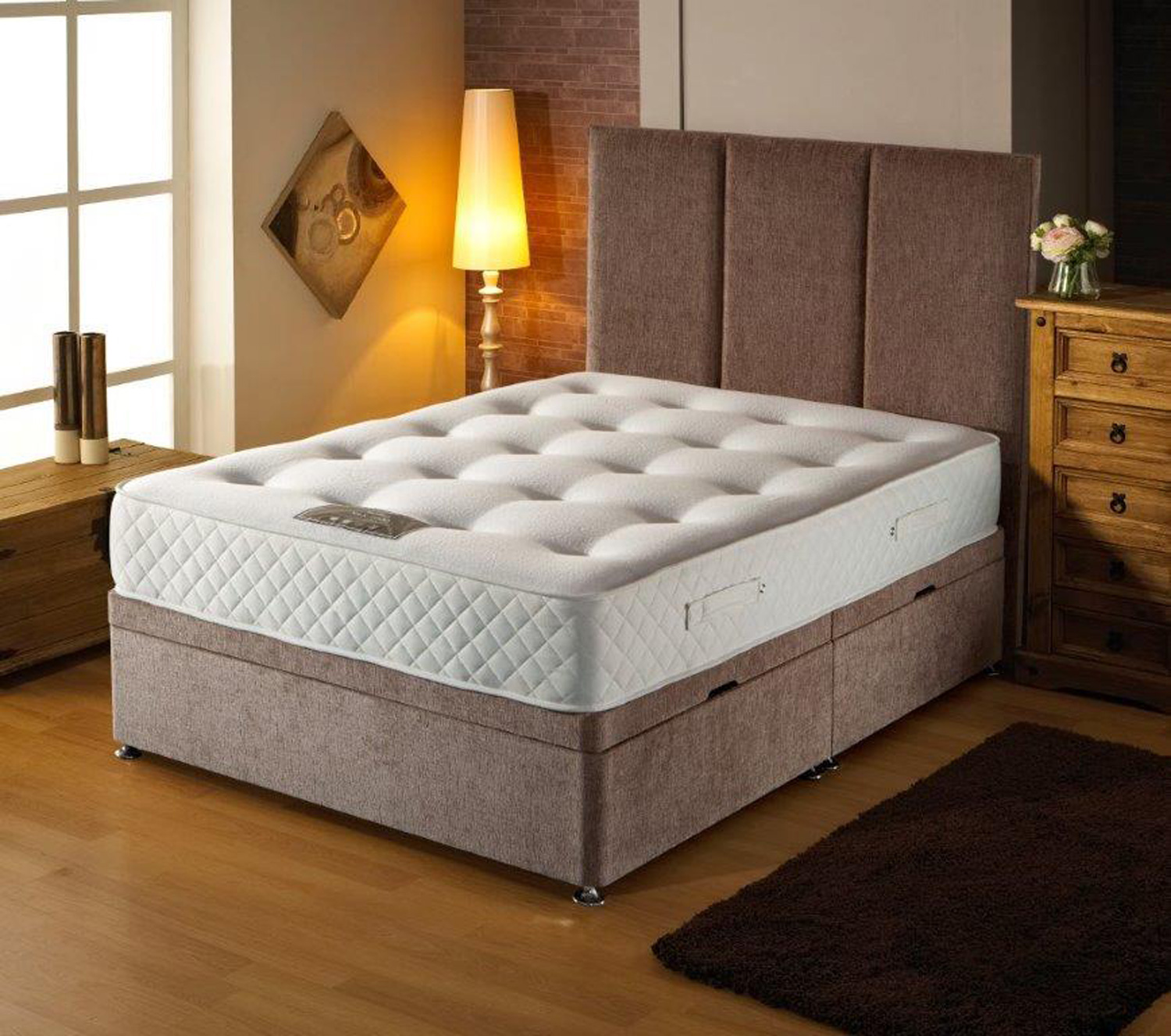 Durabed Sideopening Double Ottoman Base with 1000 Pocket Mattress