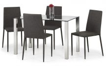 Julian Bowen Enzo Table & 4 Jazz Slate Linen Chairs