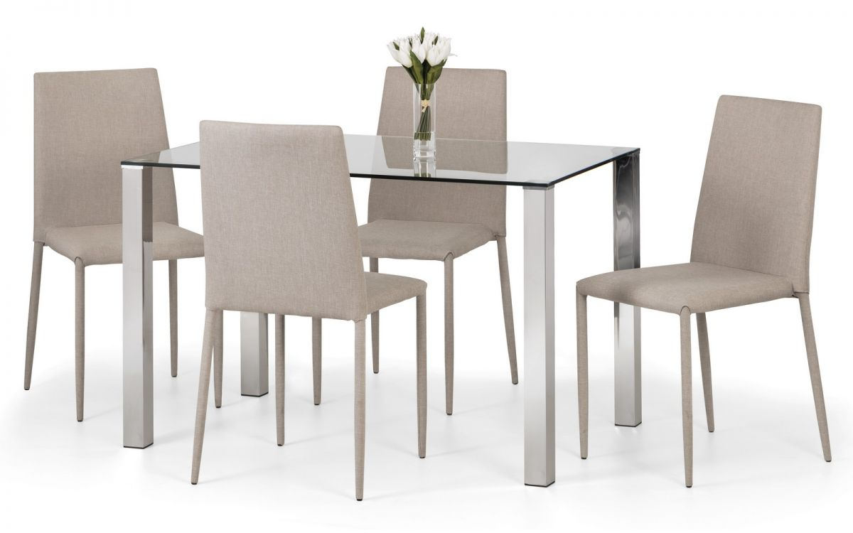 Julian Bowen Enzo Table & 4 Jazz Sand Linen Chairs