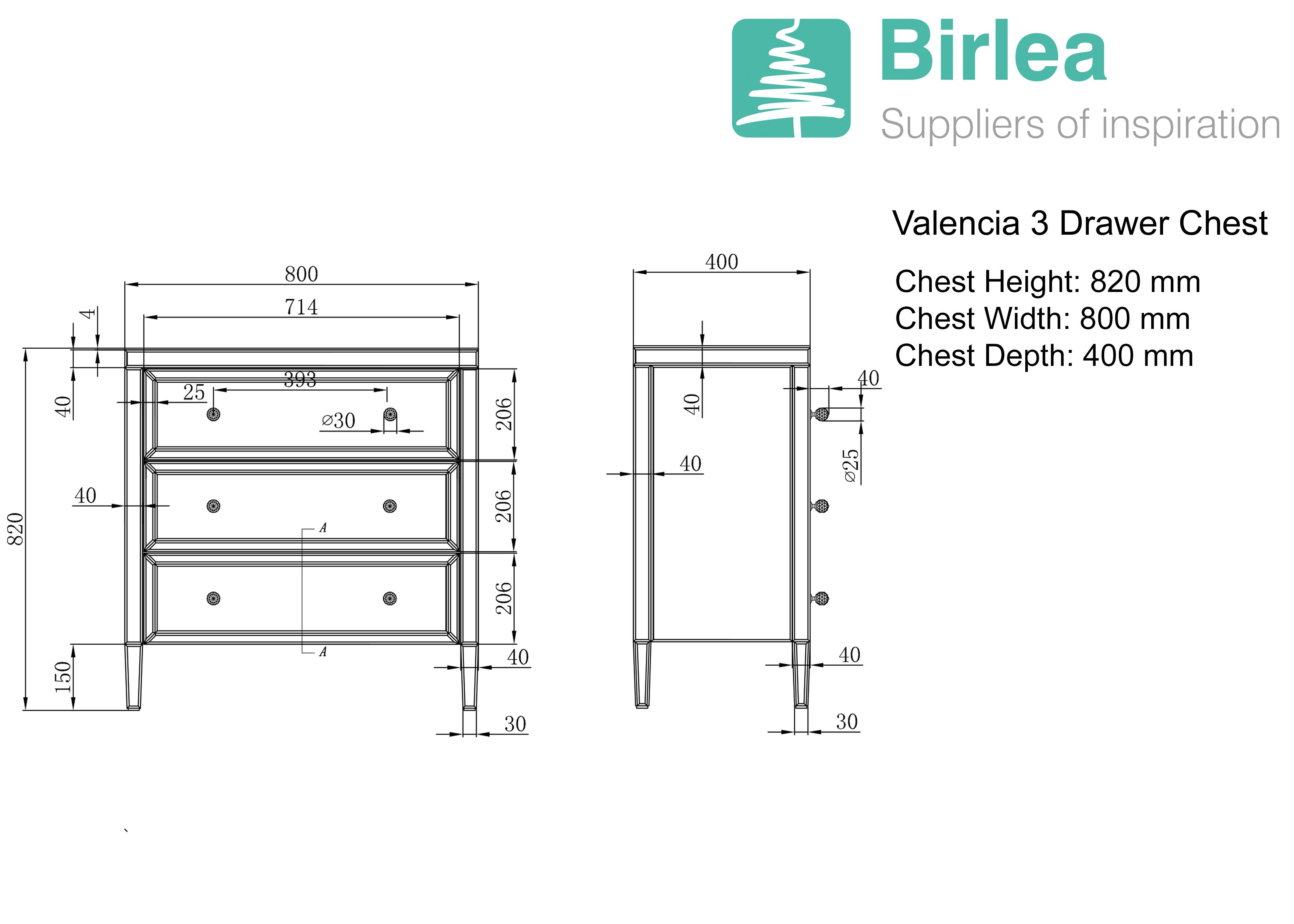 Birlea Valencia 3 Drawer Chest