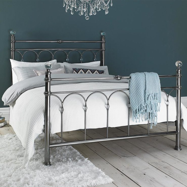 Bentley Designs Krystal Antique Nickel Double Bedframe