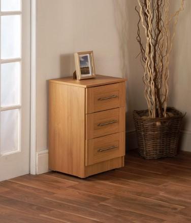 Maysons Parma Oak 3 Drawer Bedside Cabinet
