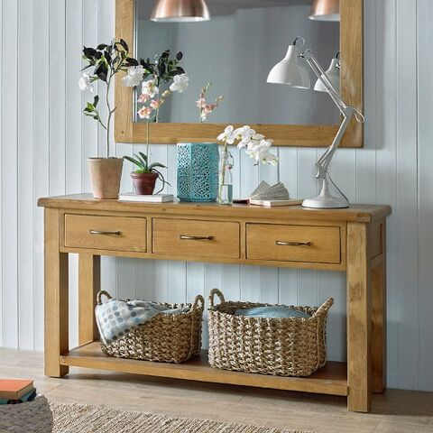 Hereford Saxon Oak Large Console Table